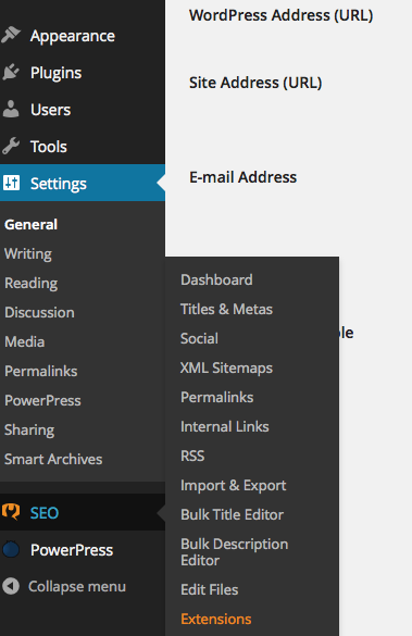 SEO link in WordPress dashboard