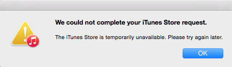 iTunes unavailable error box