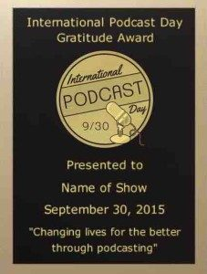 International Podcast Day Gratitude Award